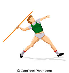 javeline player - illustration of javeline player throwing...