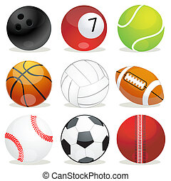 set of different sports balls