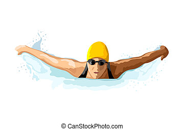 lady swimmer - illustration of lady swimming on isolated...