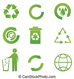 set of recycle icon