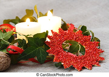Christmas Decorations with Candles and Ivy