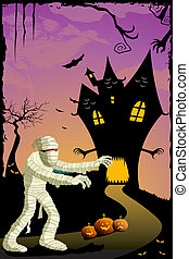 mummy going to haunted house - illustration of mummy going...