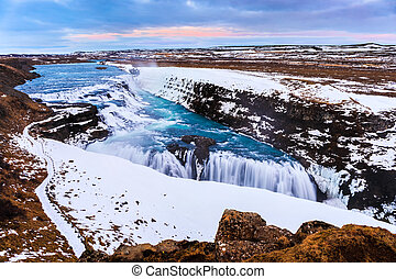 Gullfoss waterfall in Winter (bird's eye view), Iceland -...