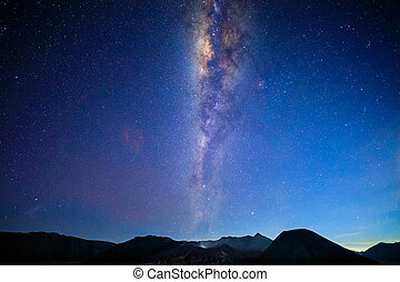 Bromo volcano with milky way, the moon and sand strom...