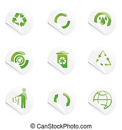 recyle stickers - illustration of recyle stickers on...