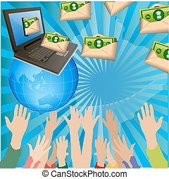 game of money - illustration of money with peoples and...