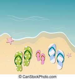 vactaion on beach - illustration of slipper of famile on sea...