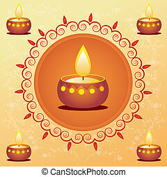 diwali card decorated with diya - illustration of diwali...