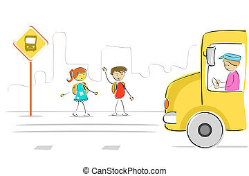 kids at bus stop - illustration of kids at bus stop waiting...