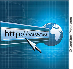 world wide web - illustration of web with globe