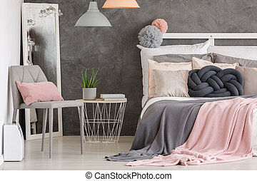 Woman pastel color bedroom - Pink pillow on grey modern...