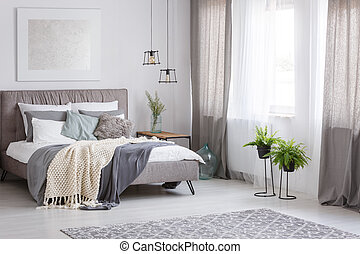 Sophisticated soft color bedroom - Grey bedding and mint...