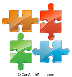 pieces of jigsaw puzzle - illustration of pieces of jigsaw...