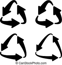 recycle triangular arrow eco symbol - illustration for the...