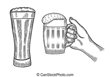 beer glasses mug - Hands holding and clinking with beer...