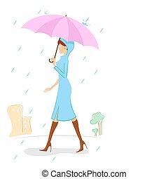 lady in rainy day