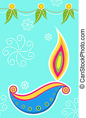 diwali card - illustration of colorful diwali card