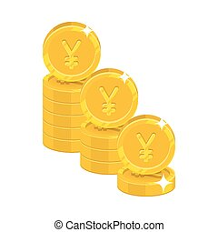 Piles gold Chinese yuan or Japanese yen isolated cartoon...