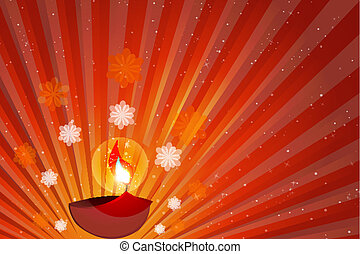 happy diwali - illustration of diwali with diya