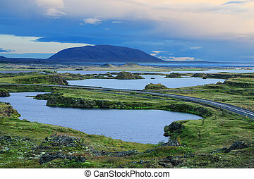 Lake Myvatn in Northern Iceland - Scenic sunset at Lake...