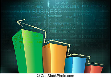 bar graph - illustration of bar graph on abstract business...