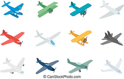 Type of plane icon set, isometric style - Type of plane icon...