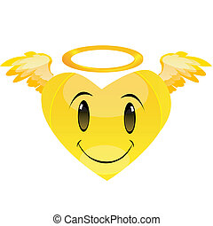 smiley angel heart - illustration of smiley angel heart with...