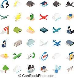 Flight icons set, isometric style - Flight icons set....
