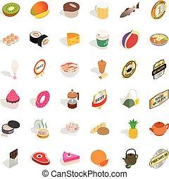 Meat icons set, isometric style - Meat icons set. Isometric...
