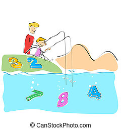 father and son fishing numbers - illustration of father and...