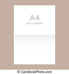 Once folded a4 paper mockup, realistic style - Once folded...