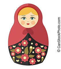 Nesting doll with blond hair in maroon kerchief - Nesting...