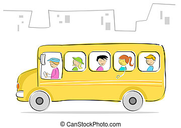 kids in school bus - illustration of kids going to school in...
