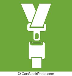 Safety belt icon green - Safety belt icon white isolated on...