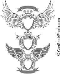 Turbo engine emblem - Racing emblem with engine, wings and...