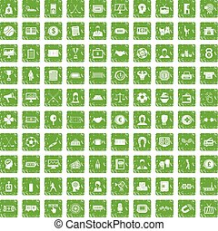100 totalizator icons set grunge green - 100 totalizator...