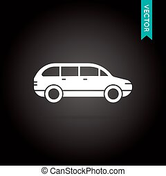 Car Icon Vector White on Black - Vector Illustration EPS 10...