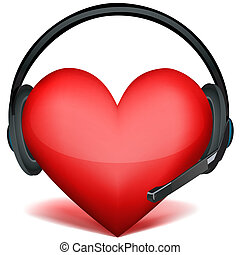 headphone with heart - illustration of headphone with heart...