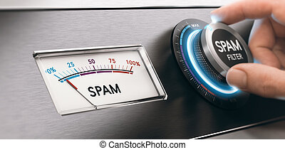 Spam Email Filter, Filtering Mail Concept - Conceptual image...