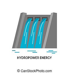Hydroelectric station icon in flat style. Water flow energy....