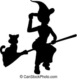 Witch and Cat Flying On Broomstick Silhouette - Silhouette...