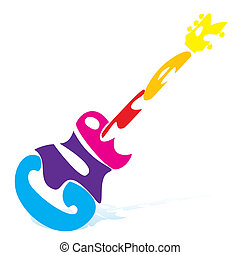 guitar - illustration of guitar on white background
