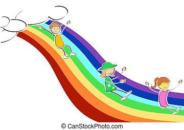kids sliding on rainbow - illustration of kids sliding on...