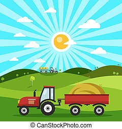 Field with Tractors. Tractor on Meadow. Vector Flat Design Nature Cartoon.