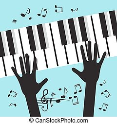 Hands Playing Piano with Notes. Vector Music Blue Background