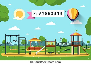 Children's Playground on City Park. Vector Flat Design Cartoon.