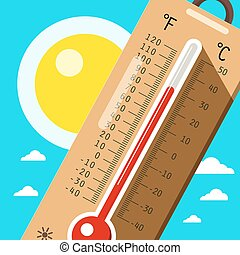 Thermometer with Sky and Sun. Hot Weather in Summer. Vector...