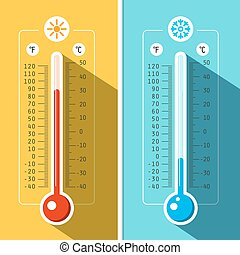 Thermometer Icons. Vector Temperature Measurement...
