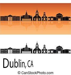 Dublin, CA skyline in orange background in editable vector...
