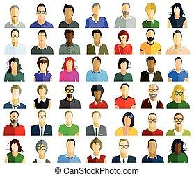 Personen Gesichter.eps - People faces portrait, illustration